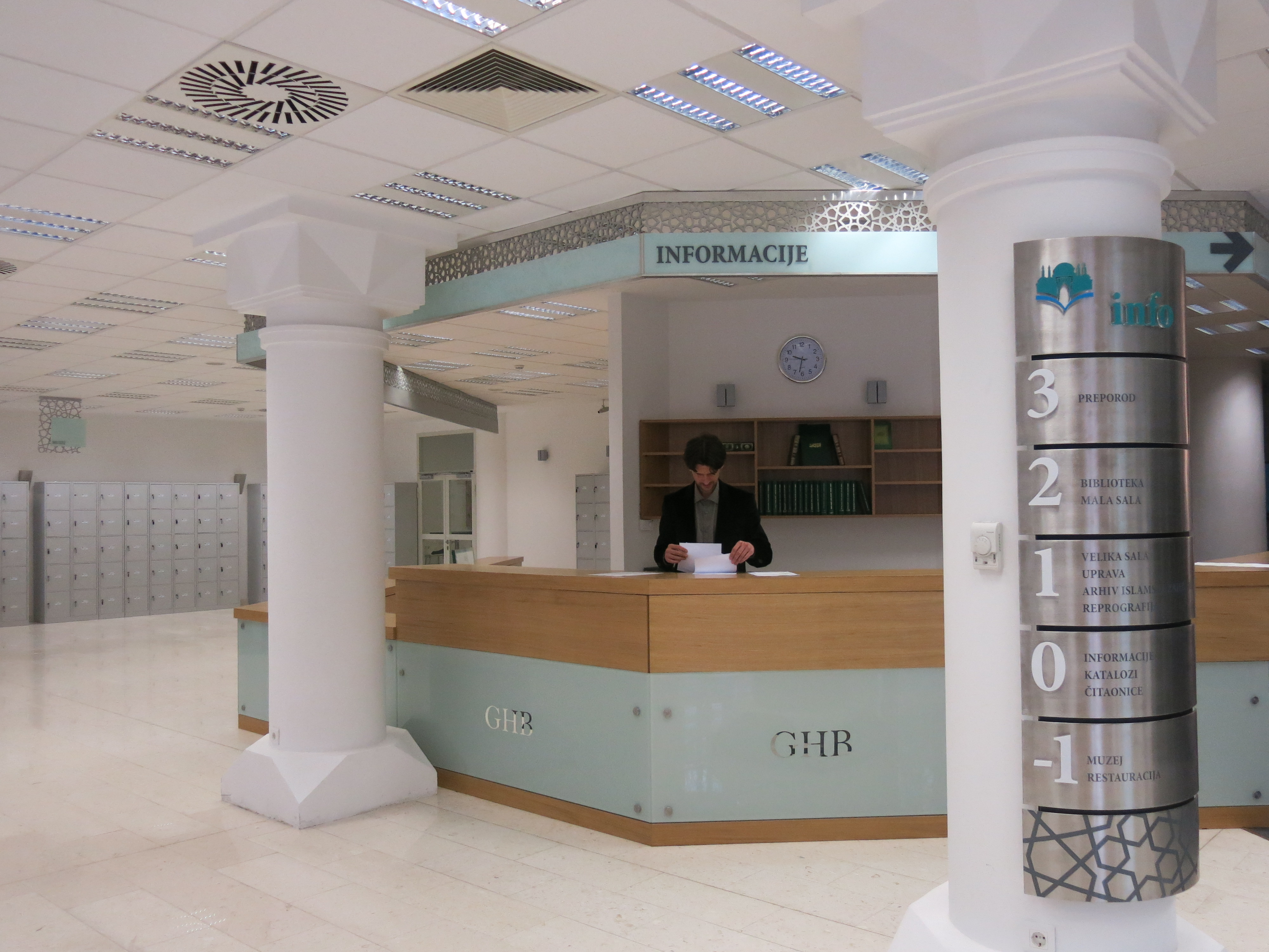 The reception desk at GHB