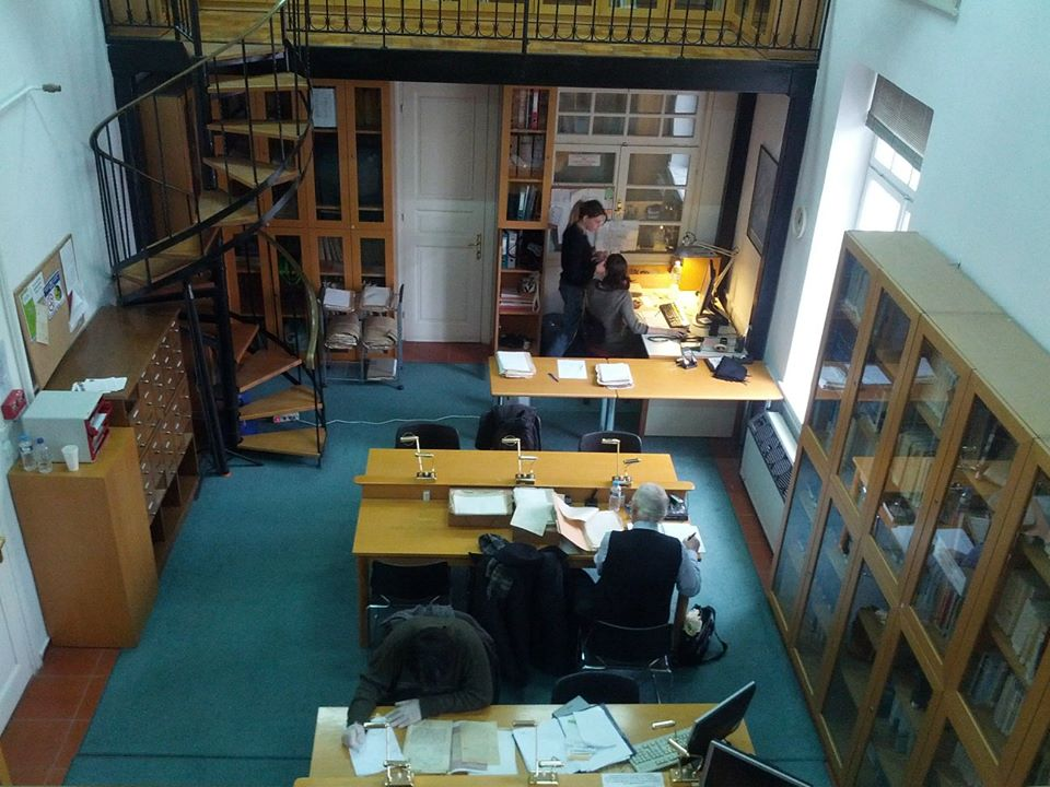 Researchers at work in the archive's library.