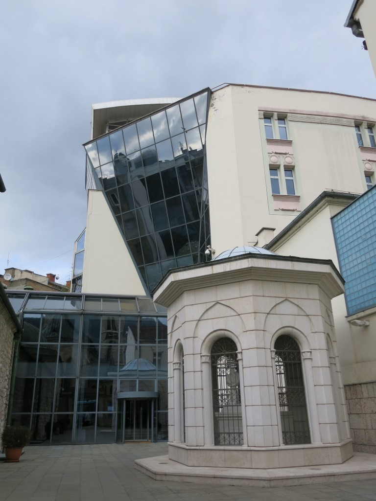 The entrance of the Bosniak Institute. The tomb of the founder-Adil Zulfikarpasavic--is located right at the entrance.